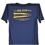 T-Shirt Navy with Pale Yellow Lettering - Bullet